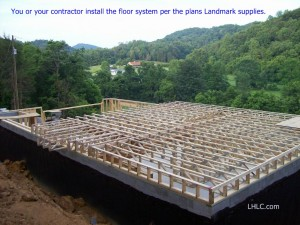 Optional floor truss system awaiting floor sheathing installation