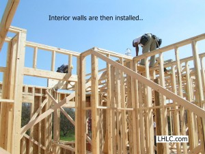Panelized interior walls are installed.  Upper floor or roof system installation follows.