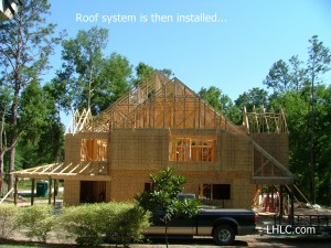 roof trusses installed and waiting  for roof sheathing