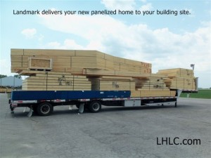 Panelized home kit ready for delivery by Landmark Home and Land co.