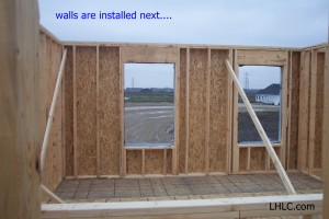 exterior wall panel installed and braced